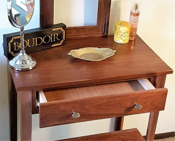 Walnut Makeup Vanity Table by Meagansmood on Etsy