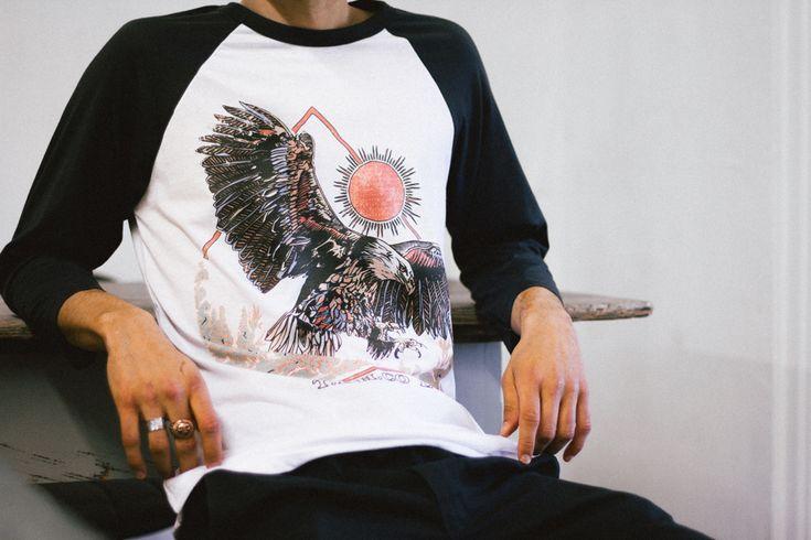 'EAGLE + THE SUN' RAGLAN - Artwork by Luke Dixon  #thebearhug #bearhug #TBHCO  #streewear #lukedixon #lukedixonartist