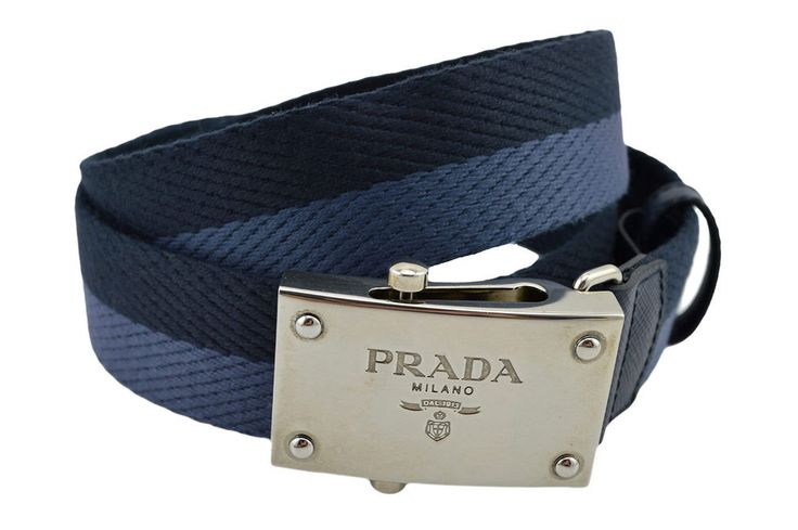 PRADA Blue Fabric \u0026amp; Leather Silver Logo Buckle Mens Belt NEW ...