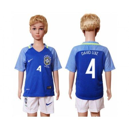 Brasilien Trøje Børn 2016 #David Luiz 4 Udebanetrøje Kort ærmer,199,62KR,shirtshopservice@gmail.com