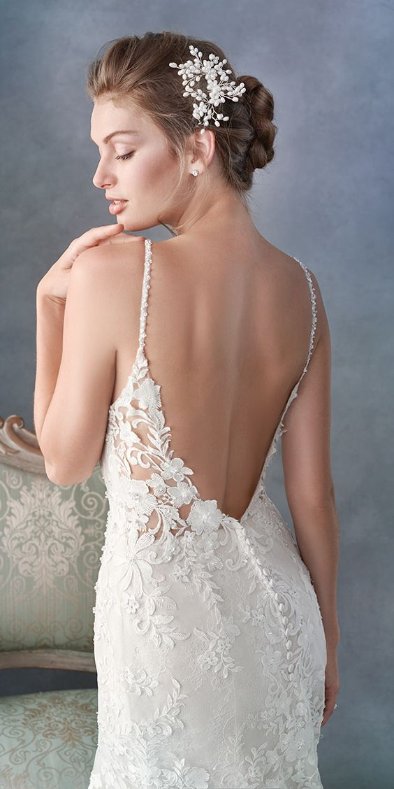 3023b994f2b8 Kenneth Winston style 1799 / Beautiful Lace Mermaid gown / Sexy Deep V  Neckline / Low open back / Beaded Spaghetti Straps / Romantic Wedding Gown  ...