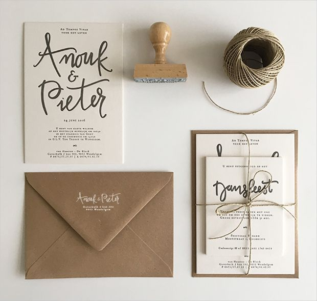 huwelijksuitnodiging kraft letterpress stempel stamp handwritten gent wedding invitation http://www.inkspired.be