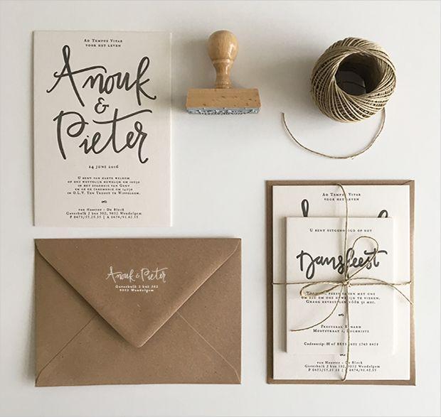huwelijksuitnodiging kraft letterpress stempel stamp handwritten gent wedding invitation http://www.inkspired.be