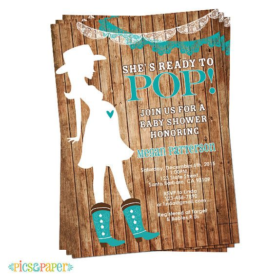 She's Ready to Pop Western Theme in Teal Pregnant by PicsandPaper