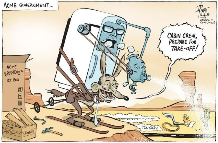 THE SHAMBLES OF LNP ACME GOVERNMENT. Cartoon by DAVID POPE.