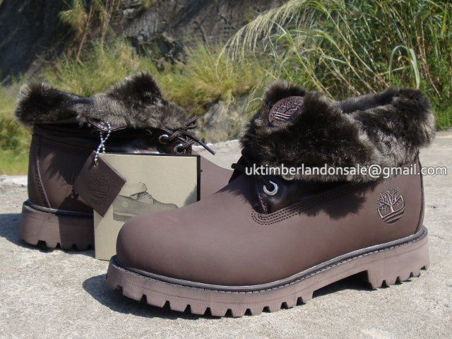 Teddy Fleece Lining Men's Timberland Roll Top Boots All Brown $ 85.00