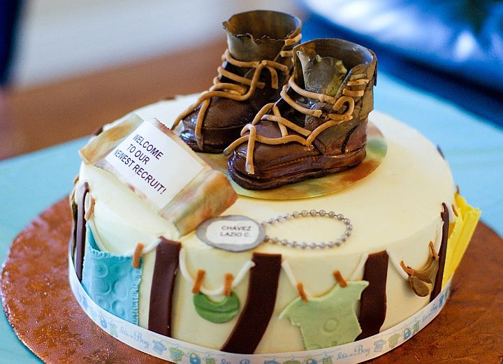 Gumpaste Marine Boots Topper For A Baby Shower Cake