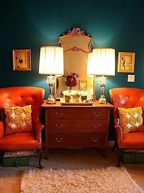 Orange leather chairs
