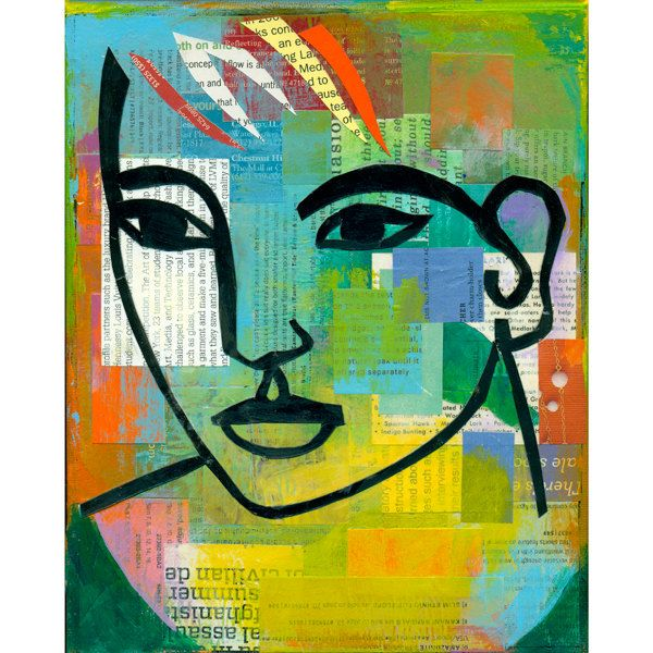 modern abstract collage portrait ORIGINAL by ElizabethRosenArt  paper collage portrait