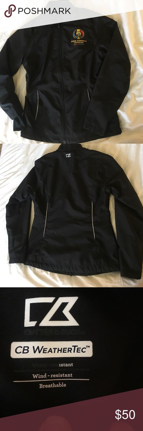 CB Tech Wind Resistant, black ladies jacket. CB Tech Wind Resistant, black ladies jacket. 2016 Copa America Centenario branded. Worn once. Looks brand new. CB Tech Jackets & Coats