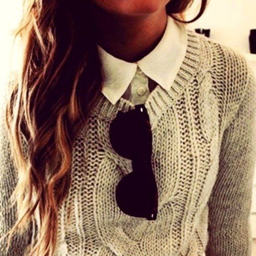 I love this look. a knit sweater with a collared shirt under. its so british I think.