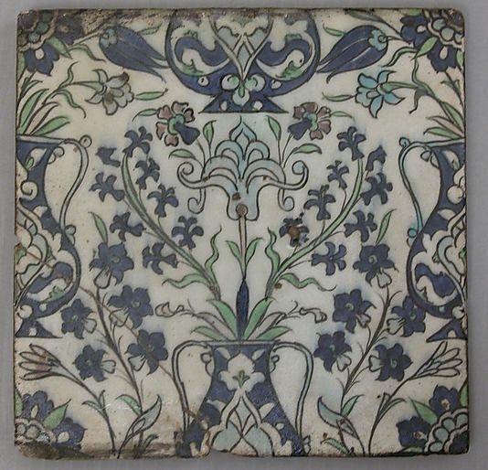 Tile panel - stonepaste; polychrome painted under a transparent glaze. Syria, circa late 16th century