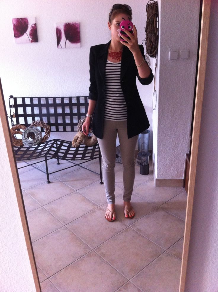 Statement necklace, striped tee, escada black jacket, beige trousers. Work outfit. Enjoy Yourself.