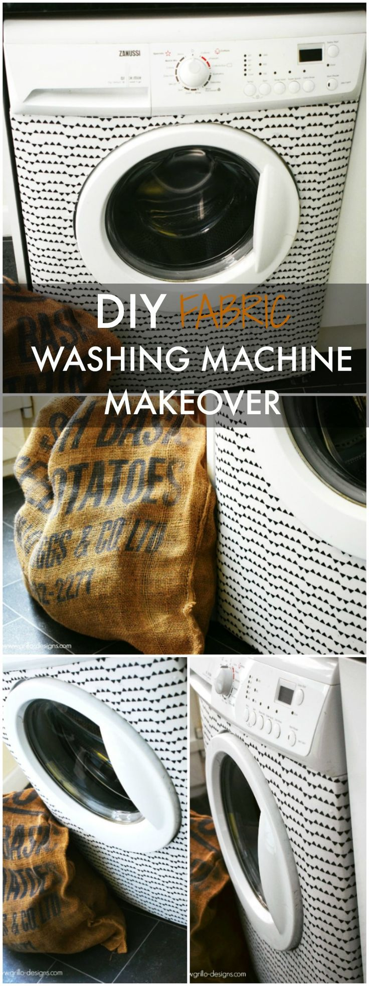 I gave my tired old washing machine a makeover WITH FABRIC! Find out how I did it here!
