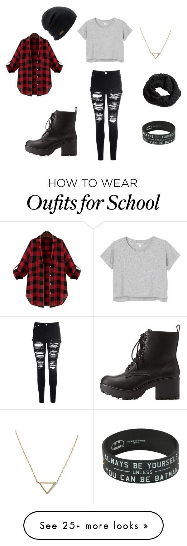 """Fall outfit for school cool shirt"" by agerbaek on Polyvore featuring Monki, Glamorous, H&M, Coal, Banana Republic and Charlotte Russe"