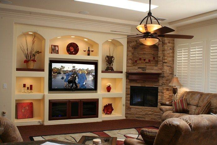 Drywall entertainment center thunderbird custom design for Drywall designs living room