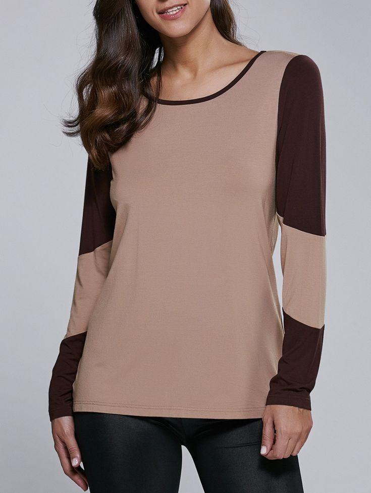 Long Sleeve Contrast Trim Design T-Shirt in Camel | Sammydress.com