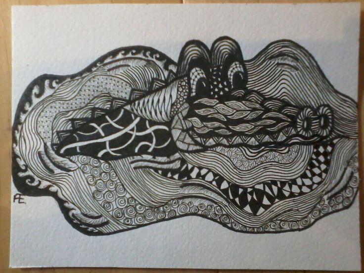 zentangle krokodil