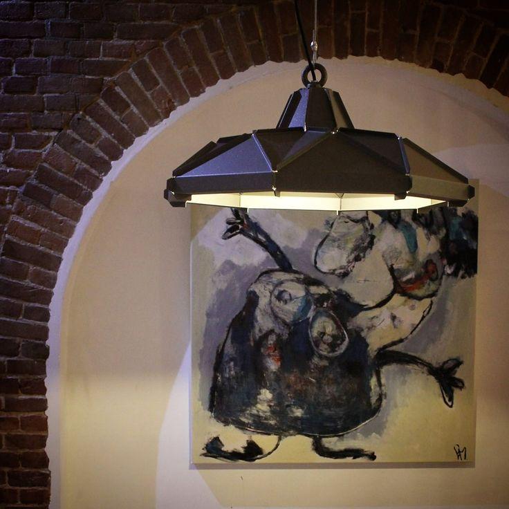 Klink Lampshade Small (diameter 60cm) by Romy Kühne Design. Artwork in the back by Liesbeth Meulman.