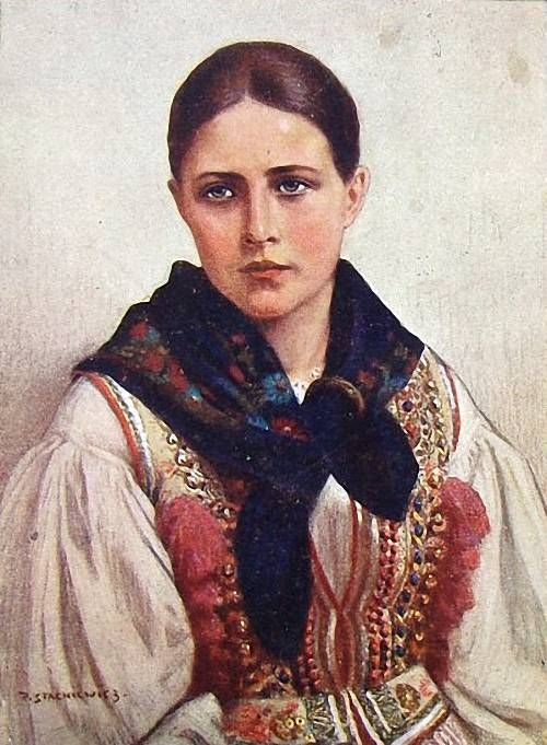 Folk costume from Kraków region, Poland; painting by Piotr Stachiewicz.