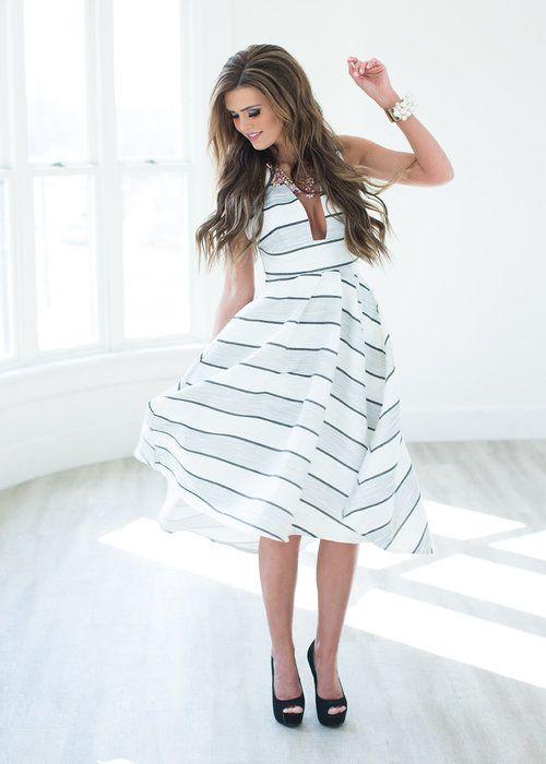 Dress, Hi- Low, Black, Grey, White, Stripe, Open Back, Cute, Online Boutique - Modern Vintage Boutique