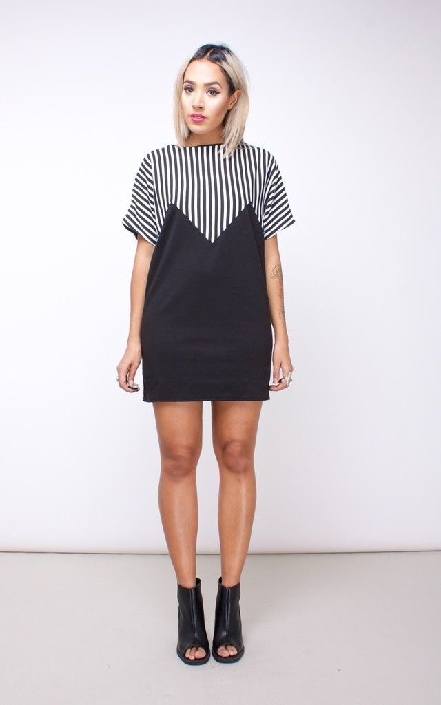 Stripe Batwing T-shirt Dress by House of Jam. Love the stripes! This dress would be great for a day or night look.