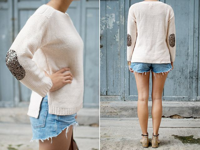 diy sequin elbow patch sweater by apairandaspare, via Flickr