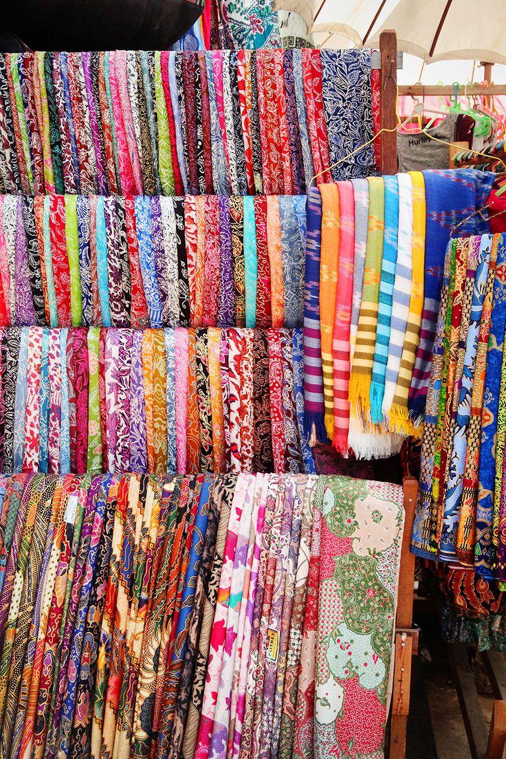 Brightly coloured fabrics in the Ubud markets, Bali, Indonesia.