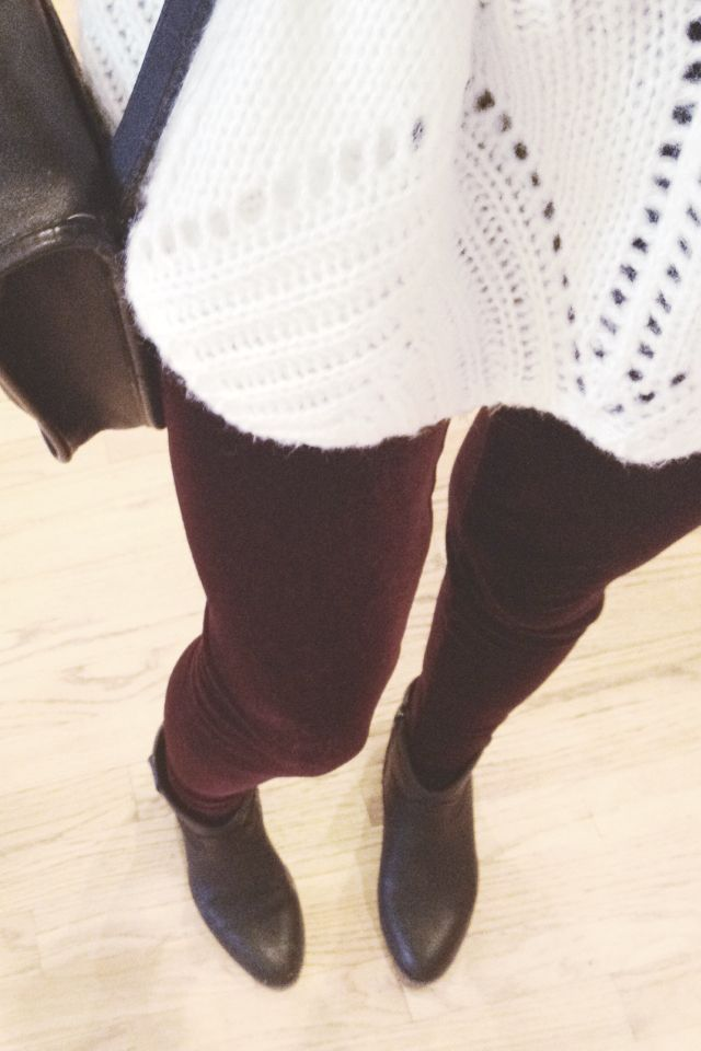 Maroon pants + White sweater + Ankle booties