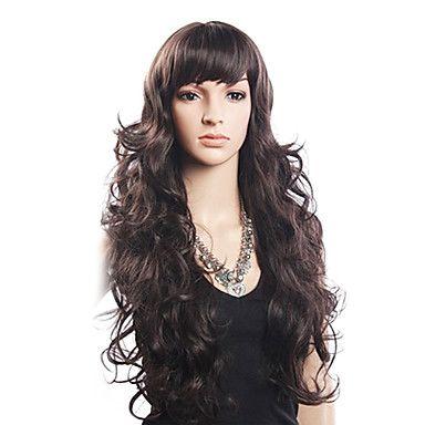 Haute Qualité 20% de cheveux humains et 80% résistant à la chaleur cheveux de fibre capless longue perruque ondulée (Blonde) – EUR € 38.99