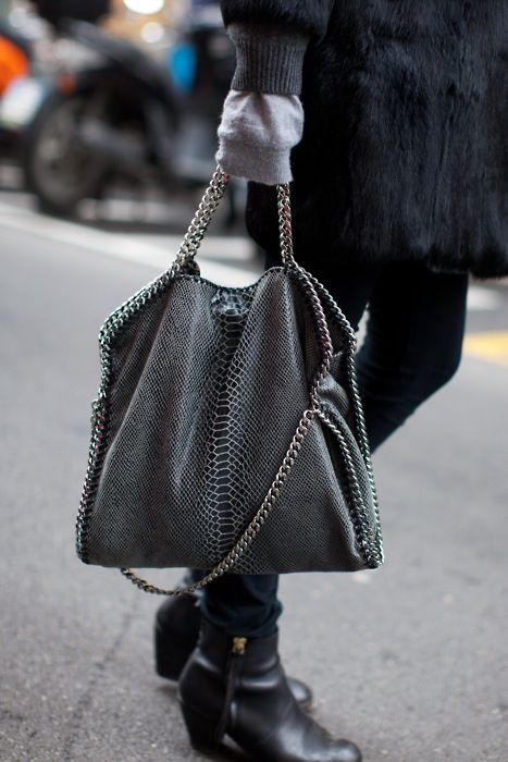 love this Stella bag in soft, shimmery black w/ silver chain & hardware!!