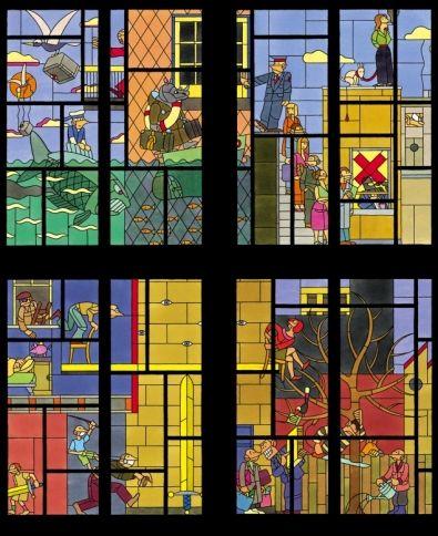 Joost Swarte - Stained glass - Paleis van Justitie ontwerp - Arnhem - The Netherlands