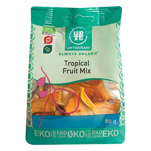 Urtekram Tropical Fruit Mix indeholder en sød blanding af ananas, banan, jackfrugt, mango og papaya. God til at stille den lille sult eller som en on-the-go snack.