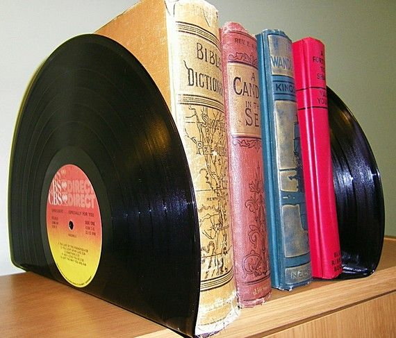 Bookends made from Records  Book Ends by retrograndma on Etsy, $12.99