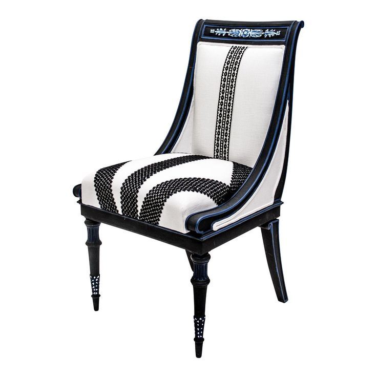 Image of French Empire Black &White Side Chair