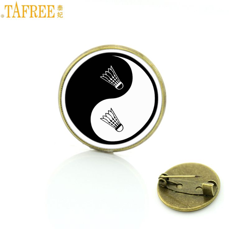 TAFREE vintage tai  yin yang badminton photo brooch pins high quality men women clothing accessories brooches jewelry SP923 #Affiliate
