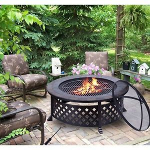 Outdoor Fire Pit Large Round Steel Patio Heater Portable BBQ Table Fireplace New
