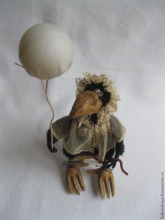 """Ворона """"Научи меня летать...."""" - ручная работа,ворона,птица,малыш,милая игрушка"""