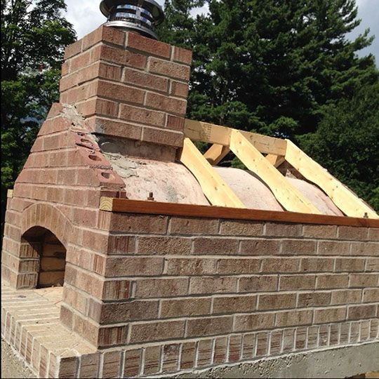 Gable Roof Wood Fired Outdoor Brick Pizza Oven By The