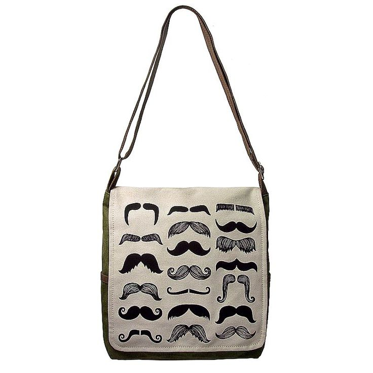 Mustache Canvas Bag with Black print