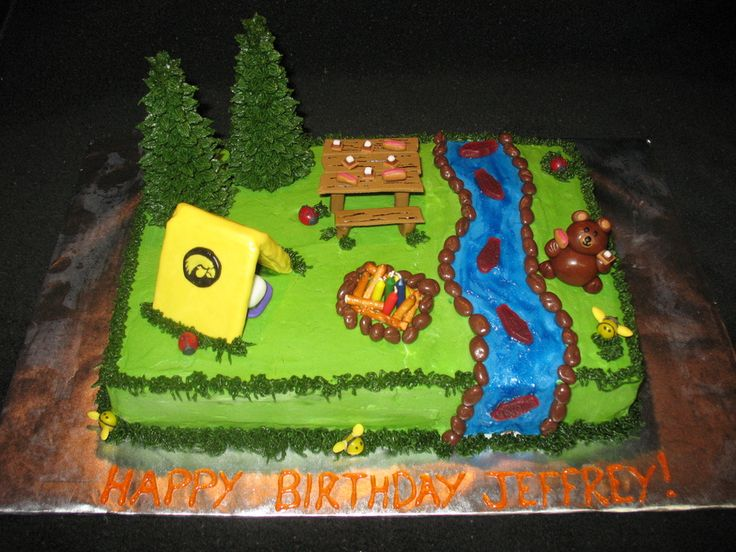 Camping theme cake for a birthday boy (who is also a fan of the Iowa Hawkeyes!). All edible and soooo fun to make!!