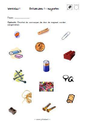 werkblaadje ontdekdoos magneten Juf Anke - Spel & Spelen kleuters