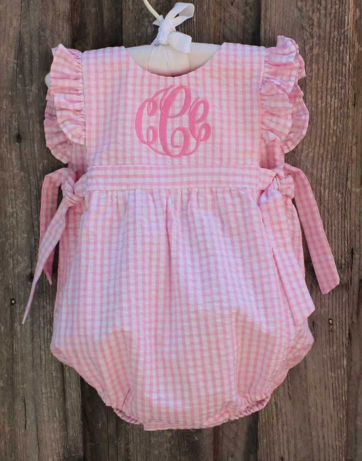 cool Pink Seersucker Tie-Side Bubble with Monogram from Smocked Auctions...