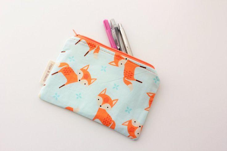 Zipper pouch, Purse, Pencil Case, Flat, Cute Mr Fox, Woodland, Mint Green, Gray, Gift for her