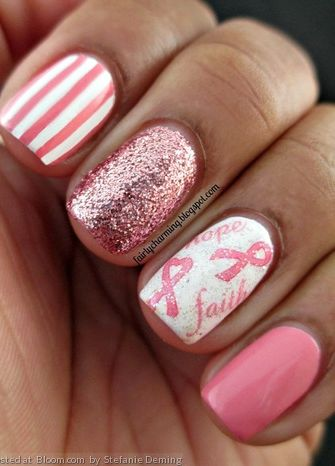 Think Pink with this pretty manicure in October!: Breast Cancer Nails, Nails Art, Breast Cancer Awareness, Nails Design, Nailart, Pink Nails, Pink Ribbons, Sparkle Nails, Fingers Nails