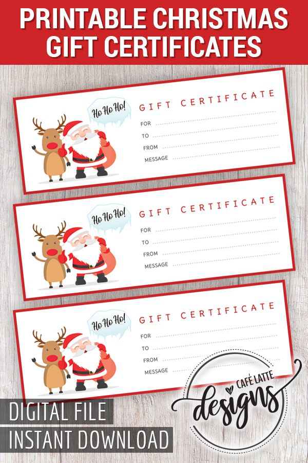 Christmas Gift Certificate Santa Claus Gift Certificate Printable