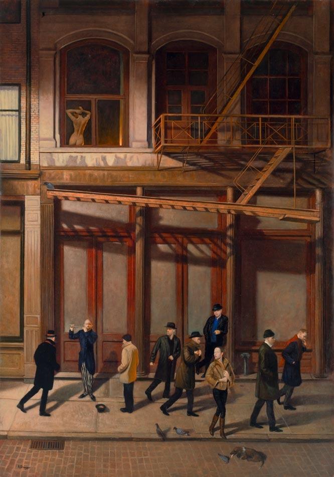 """Alexander Klingspor ställer ut på Albermarley Gallery i London. Hans konst är som ett slag förlängning av Caravaggio och Edward Hopper. """"Lost tune"""" är 163x115 cm stor!"""