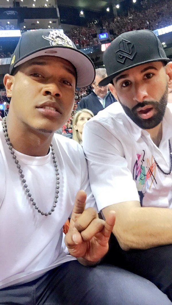 Marcus Stroman and Jose Bautista made it back to Toronto just in time, (after an afternoon game against the Rays) to attend Raptors/Pacers, Game 7 (May 1, 2016)