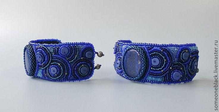 Купить Синие межгалактические - тёмно-синий, браслет, бисер, содалит, пирит, керамика