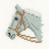Grey Pony - Mini Cross Stitch Kit - Beginners